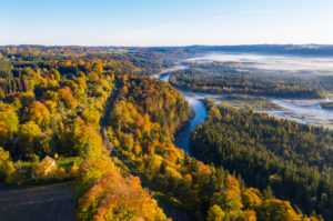 Mouth of the Loisach into the Isar, Pupplinger Au, Isarauen nature reserve, near Wolfratshausen, aerial photo, Upper Bavaria, Bavaria, Germany