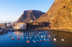 Fishing port, Vueltas, Valle Gran Rey, aerial view, La Gomera, Canary Islands, Spain