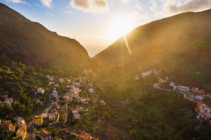 Chele in the Valle Gran Rey at sunset, aerial view, La Gomera, Canary Islands, Spain