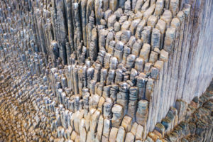 Los Organos basalt rock formation, Organ Pipe Rock, at Vallehermoso, aerial view, La Gomera, Canary Islands, Spain