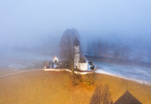 Church of the Visitation of Mary in Nebel, Oberbuchen near Bad Heilbrunn, drone image, Upper Bavaria, Bavaria, Germany