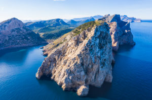 Cala Figuera and Cap de Catalunya, Formentor peninsula, near Pollença, drone image, Mallorca, Balearic Islands, Spain