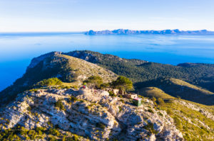 Summit from Talaia d'Alcúdia, La Victoria peninsula, near Alcudia, in the back Peninsula de Llevant, Raiguer region, aerial view, Mallorca, Balearic Islands, Spain