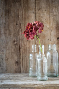 Late-summery, rural still life with glass bottles and hydrangea