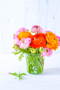 Colorful spring bouquet of pink and orange ranunculus