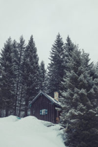 Snowy hut in the Alps