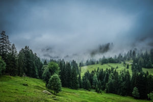 Cloudy mountains in the Alps