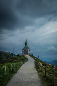 Chapel on the Wallberg at Tegernsee during an approaching thunderstorm