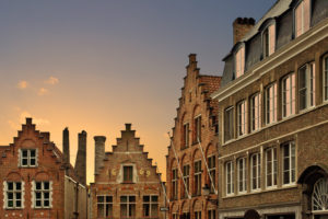 Classic building facades in the Belgian city of Bruges