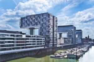 The Rheinau harbour, modern architecture in Cologne city,  Cologne (Koln), North Rhine Westphalia, Germany, Europe