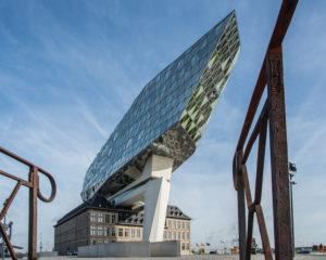 Nieuw Havenhuis (New Harbour House), one of the final projects of architect Zaha Hadid, Antwerp (Antwerpen), Flanders, Belgium, Europe