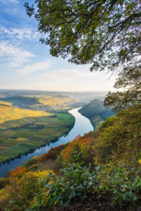 View over the autumnal Moselle landscape near Neumagen-Drohn.