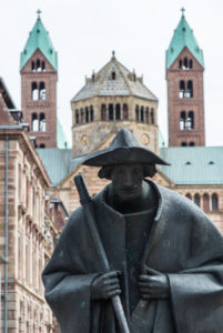 Statue of Jacobs pilgrim in front of Speyer Cathedral, Speyer, Rhineland-Palatinate, Germany