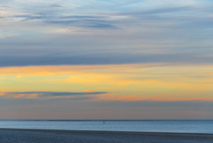 Impressionist colored sky on the North Sea near Renesse, Netherlands