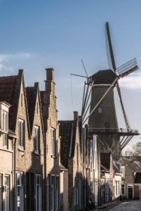 Houses and windmill in Zierikzee, the Netherlands