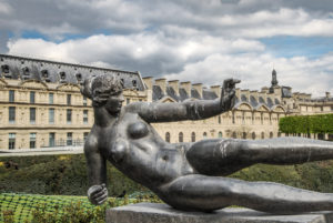 One of 18 bronze statues of Maillol in the Jardin des Tuileries, Paris