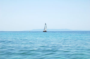 Sailboat on the Greek coast of the Peloponnese