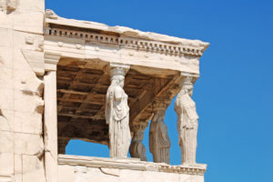 The Caryatids in front of the Erechtheion, a famous temple on the Acropolis in Athens