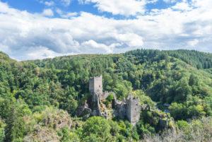 Blick auf die Niederburg in Manderscheid (Eifel).