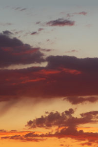 Partly cloudy sky at sunset