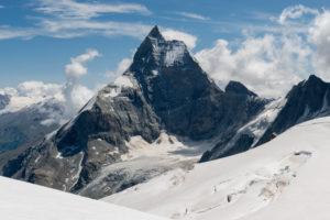 Schweiz, Wallis, Haute Route Chamonix Zermatt, Stockjigletscher mit Matterhorn - Zmuttgrat, Westwand und Liongrat