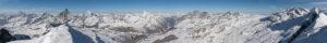Switzerland, Valais, Zermatt, panoramic view from the summit of the Breithorn to the four thousand meter peaks of Mont Blanc, Dent d´Herens, Matterhorn, Dent Blanche, Obergabelhorn, Zinalrothorn, Weisshorn, Bernese Alps, Dom, Täschhorn, Alphubel, Allalinhorn, Rimpfischhorn, Strahlhorn, Monte Rosa, Liskamm