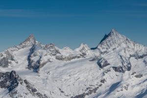 Switzerland, Valais, Zermatt, Zinalrothorn and Weisshorn from the south