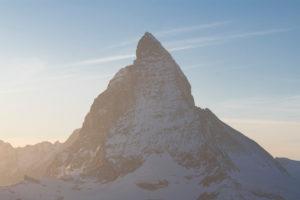 Switzerland, Valais, Zermatt, view from Gornergrat to sunset Matterhorn, Furgggrat, east wall, Hörnligrat, north wall and Zmuttgrat