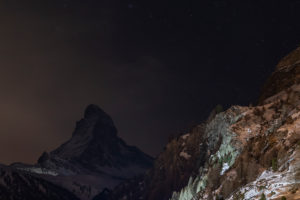 Switzerland, Valais, Zermatt, stars over the Matterhorn at night