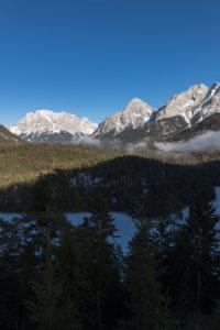 Austria, Tyrol, Fernpass, Blindsee, Zugspitze, Sonnenspitze, Schartenkopf, Wamperter Schrofen