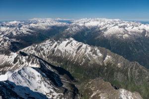 Schweiz, Blick von den Glarner Alpen bis zu den Walliser Alpen und den Berner Alpen