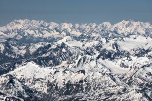 Schweiz, Blick von den Glarner Alpen bis zu den Walliser Alpen mit Monte Rosa, Liskamm, Castor, Breithorn, Täschhorn, Dom, Nadelgrat