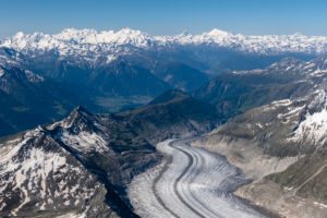 Switzerland, Canton of Bern, Bernese Alps, Bernese Oberland, Aletsch Glacier with a view of the Valais Alps, Monte Rosa, Liskamm, Alphubel, Taschhorn, Dom, Matterhorn, Weisshorn