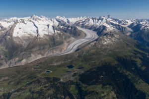 Switzerland, Valais, Bettmeralp and Riederalp with a view of the Aletsch Glacier and the Bernese Alps