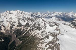 Italy, Piedmont, Switzerland, Valais canton, Monte Rosa massif, Liskamm, Breithorn, Matterhorn and Dent Blanche, in the background Mont Blanc