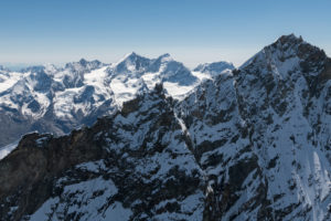 Schweiz, Kanton Wallis, Walliser Alpen, im Vordergrund Weisshorn Nordgrat, im Hintergrund Nadelgrat, Dom, Täschhorn und Alphubel