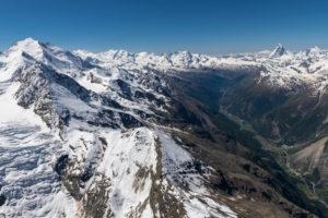 Switzerland, canton of Valais, Valais Alps, Mattertal Zermatt with Nadelgrat, Dom, Monte Rosa, Liskamm, Castor, Pollux, Breithorn, Matterhorn and Dent d'Herens