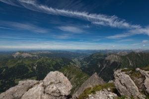 Austria, Vorarlberg, Warth, view from the Großer Widderstein summit to Kleinwalsertal and Allgäu Alps with Ifen, Gottesacker, Elferkopf, Zwölferkopf, Grünten, Walmendinger Horn, Kanzelwand, Nebelhorn, Hochvogel, Mittelberg, Hirschegg, Riezlern