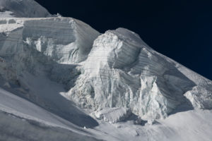 Switzerland, Canton of Valais, Saastal, Saas-Fee, glacier break on Allalinhorn