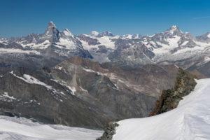 Switzerland, Canton of Valais, Saastal, Saas-Fee, view from Allalinhorn to Matterhorn, Dent d'Herens, Mont Blanc, Grand Combin, Dent Blanche