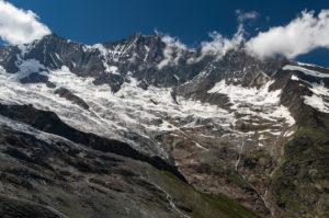 Schweiz, Kanton Wallis, Saastal, Saas-Fee, Feegletscher mit Mischabel, Täschhorn, Dom und Lenzspitze