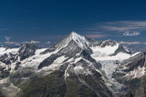 Switzerland, Canton of Valais, Mattertal, Weisshorn, Schalihorn and Bishorn with Schaligletscher and Bisgletscher
