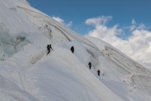 Switzerland, Canton of Valais, Saas Valley, Saas-Grund, mountaineers on the ascent to Weissmies, Trift Glacier crevasse zone
