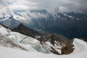 Switzerland, Canton of Valais, Saastal, Saas-Grund, view from Weissmies to Saas-Fee with Allalinhorn, Alphubel, Mischabel
