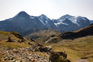Switzerland, Canton Bern, Bernese Oberland, Grindelwald, Wengen, ascent to Tschuggen with a view of Eiger, Mönch, Jungfraujoch, Top of Europe, Jungfrau, Kleine Scheidegg