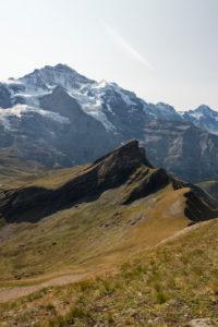 Switzerland, Canton Bern, Bernese Oberland, Grindelwald, Wengen, view from Tschuggen Jungfrau, Silberhorn, Lauberhorn