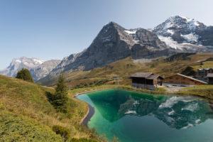 Switzerland, canton Bern, Bernese Oberland, Grindelwald, Wengen, lake at Kleine Scheidegg with Wetterhorn, Eiger, north face, Mönch, Eiger glacier