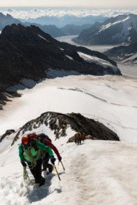Switzerland, Canton Bern, Bernese Oberland, mountaineers on the ascent to Mönch, steep firn field, Jungfraufirn, Aletsch Glacier