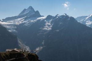 Schweiz, Kanton Bern, Berner Oberland, Grindelwald, First mit Schweizer Fahne, First Cliff Walk, Schreckhorn, Lauteraarhorn