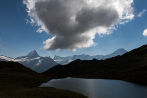 Switzerland, Canton Bern, Bernese Oberland, Grindelwald, First, Alp Baach, Bachalpsee with Lauteraarhorn, Schreckhorn, Finsteraarhorn, Fiescherhorn, Hinter Fiescherhorn, Gross Fiescherhorn, Eiger
